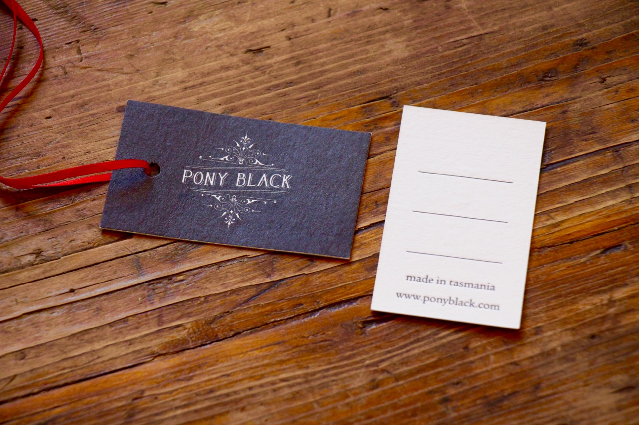Swing tags designed for Pony Black by Brave Agency